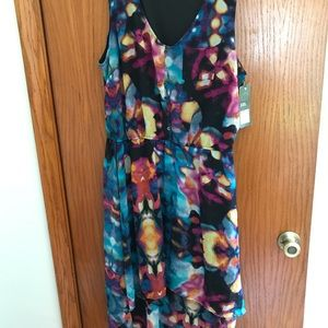 Plus size sleeveless black floral high low dress.